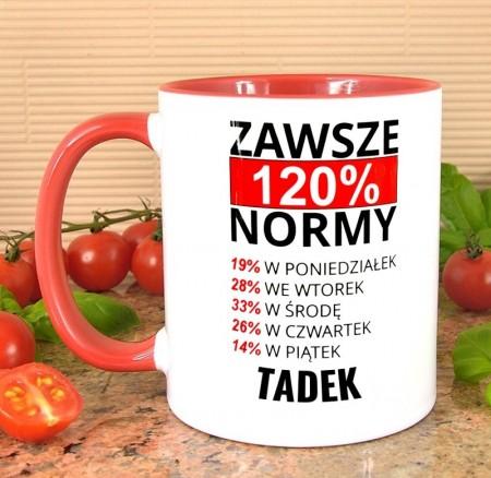 Kubek Przodownik Pracy 120% - personalizowany prezent
