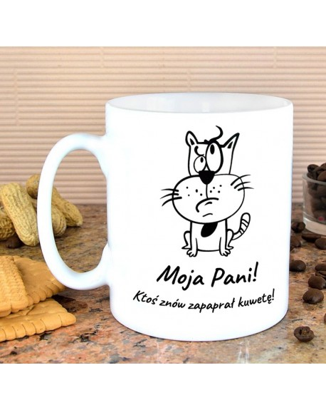 Kubek z Kotkiem - niezadowolony kot - z własnym napisem