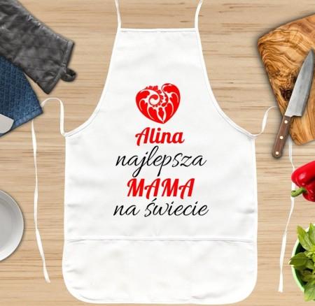 Fartuszek kuchenny Najlepsza Mama na Świecie - personalizowany prezent