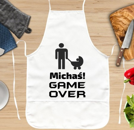 Fartuch kuchenny GAME OVER z wózkiem - personalizowany prezent