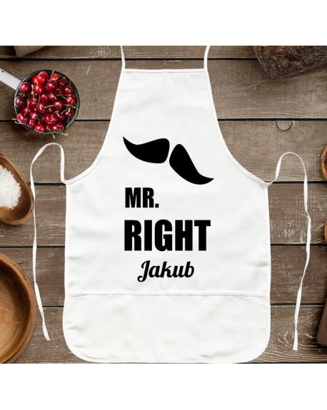 Fartuch kuchenny prezent dla Niego - MR RIGHT - z imieniem