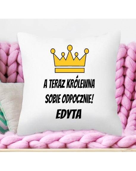 Poduszka na prezent dla Niej - Królewna Odpocznie - personalizowana