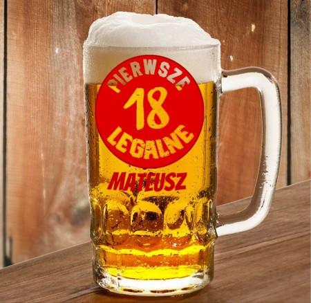 Kufel na 18stkę - Pierwsze Legalne - personalizowany prezent