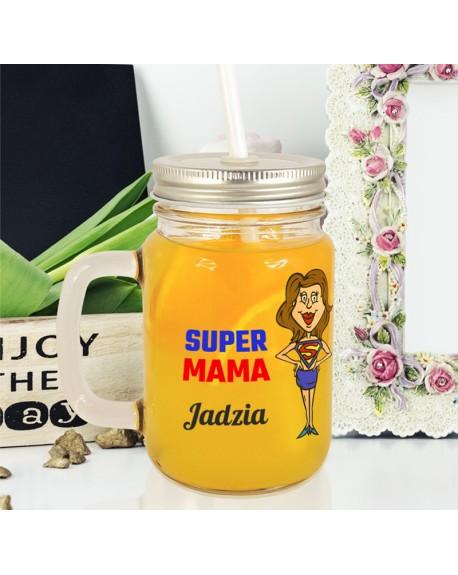 Słoiczek do picia dla Mamy - Super Mama - personalizowany prezent