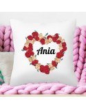Poduszka na prezent dla Dziewczyny - Kwiatowe Serce - spersonalizowana