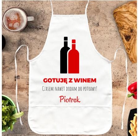 Fartuch kuchenny Gotuję z Winem - personalizowany