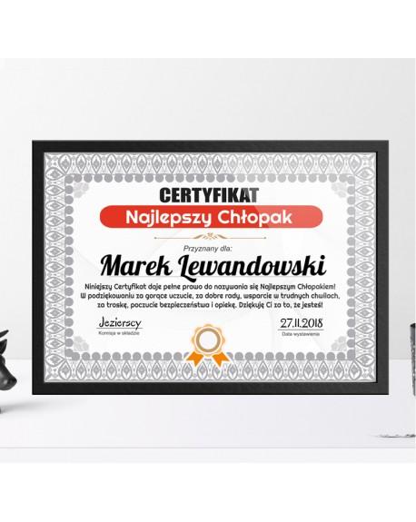 Certyfikat dla Chłopaka - Najlepszy Chłopak