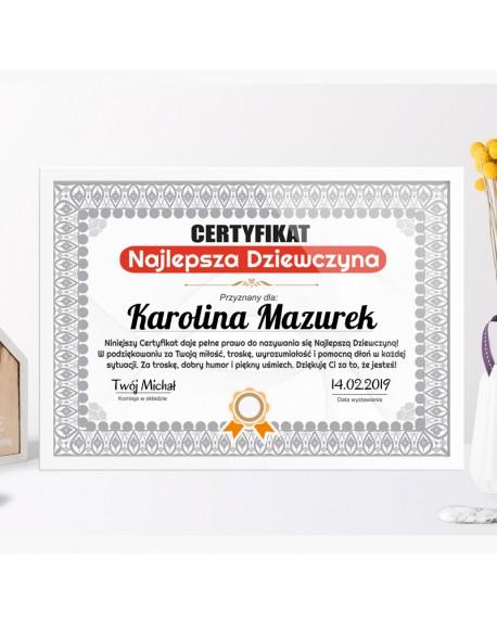 Certyfikat prezent dla Dziewczyny - Najlepsza Dziewczyna