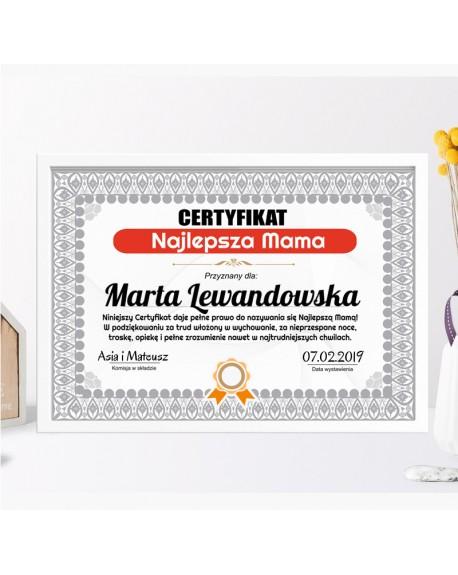 Certyfikat dla Mamy na prezent - Najlepsza Mama