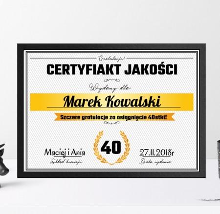 Certyfikat na 18, 30, 40, 50, 60 urodziny, rocznicę
