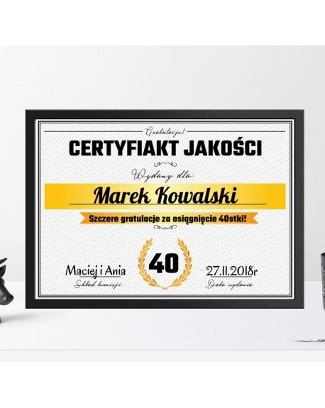 Certyfikat na 18, 30, 40, 50, 60 urodziny