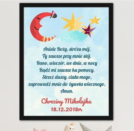 Prezent na Chrzciny - Modlitwa Obrazek do pokoju Dziecka - A3