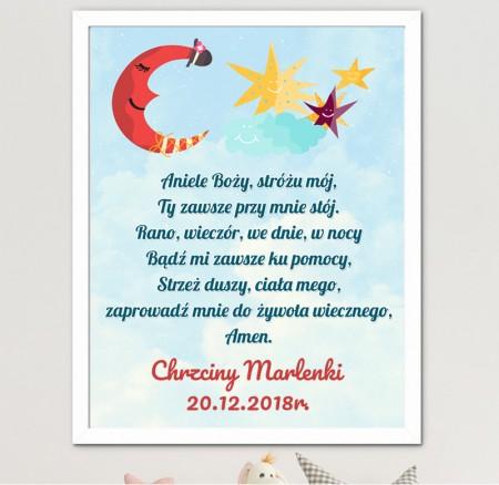 Prezent na Chrzciny - Obrazek Modlitwa dla Dziecka do pokoju - A4