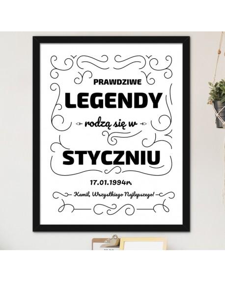 Plakat Legendy Rodzą się w - prezent na urodziny, A3